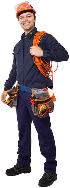 Electrician with equipment